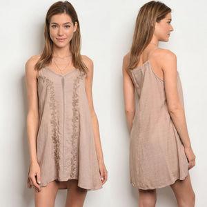 Dresses & Skirts - Embroidery detail dress, best summer dresses tan